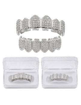 18k Gold Plated Bottom Top Upper Teeth Grill Iced Out Cz Tooth Mouth Grills Set by Ebay Seller