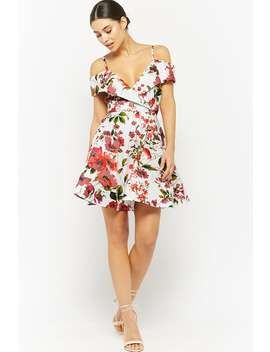 Floral Open Shoulder Fit & Flare Dress by F21 Contemporary