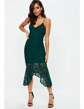 Teal Strappy Plunge Lace Fishtail Midi Dress by Missguided