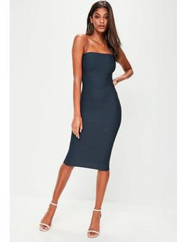 Navy Bandage Bandeau Midi Dress by Missguided