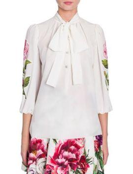 Tie Neck Floral Applique Silk Blouse by Dolce & Gabbana