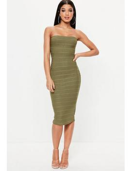 Khaki Bandeau Bandage Midi Dress by Missguided