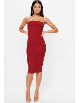 Red Bandeau Bandage Midi Dress by Missguided