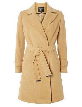 Camel Belted Wrap Coat by Dorothy Perkins