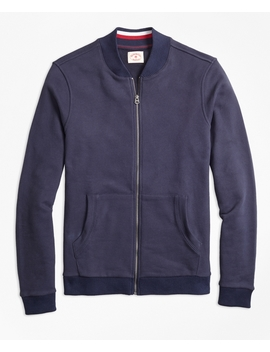 French Terry Baseball Jacket by Brooks Brothers