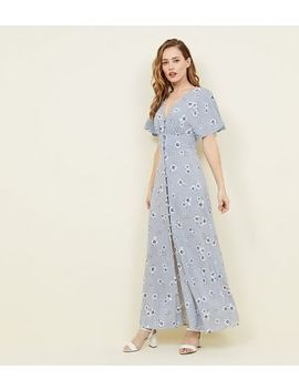 Pale Blue Floral Button Front Maxi Dress by New Look
