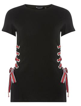 Black Tie Side T Shirt by Dorothy Perkins