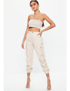 Sand Plain Cargo Trousers by Missguided