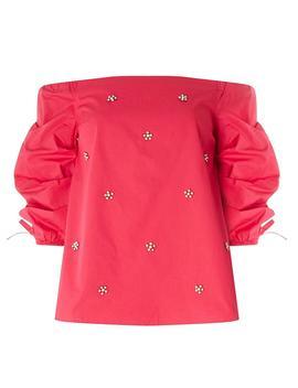 Hot Pink Pearl Detail Bardot Top by Dorothy Perkins