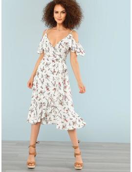 Open Shoulder Mixed Print Ruffle Dress by Shein