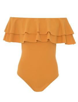 *Quiz Mustard Frill Bardot Bodysuit by Dorothy Perkins
