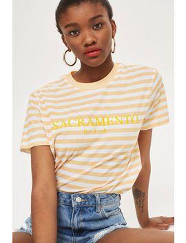Petite 'Sacramento' Slogan Stripe T Shirt by Topshop