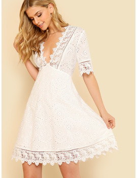 Lace Trim Eyelet Embroidered Dress by Shein