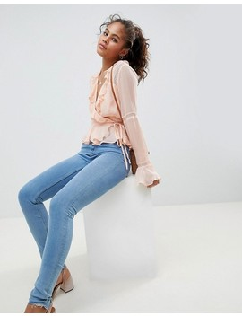 Asos Design Tall Wrap Top With Ruffle And Lace Insert In Pink by Asos Design