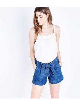 Blue Tie Waist Lightweight Denim Shorts by New Look