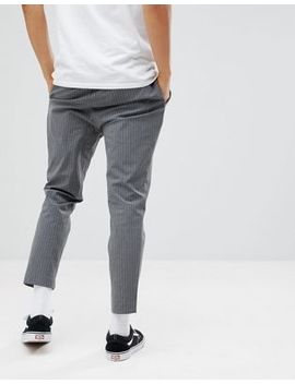 Pull&Bear Tailored Trouser In Grey Stripe by Pull&Bear