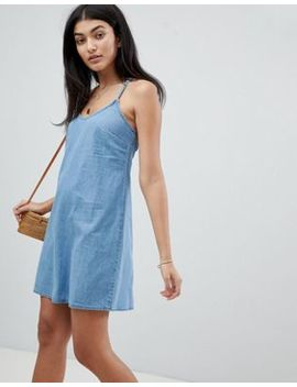 Asos Design Denim Slip Dress With Low Back In Midwash Blue by Asos Design