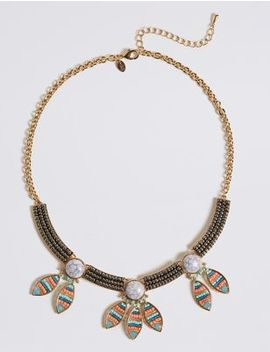 Beaded Stone Petal Collar Necklace by M&S Collection