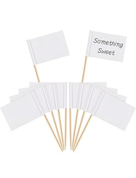 Pangda Blank Toothpick Flags White Flags Labeling Marking For Party Cake Food Cheeseplate Appetizers (100) by Pangda