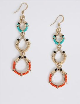 Three Tier Beaded Drop Earrings by M&S Collection