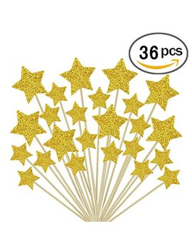 Gold Star Cake Toppers Kids Birthday Party Baby Shower Cupcake Decorations 36pcs by Glorious Year