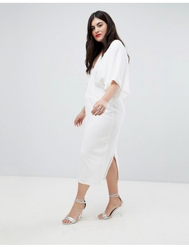 Asos Design Curve Kimono Plunge Midi Dress by Asos Design