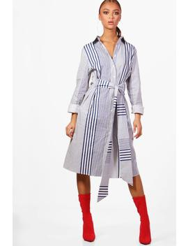 Daisy Belted Stripe Shirt Dress by Boohoo