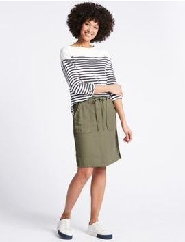Linen Rich Elasticated Waist Mini Skirt by M&S Collection