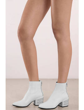 Dolce Vita Mazey White Studded Ankle Booties by Tobi
