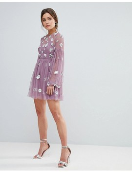 Asos Floral Cluster Embellished Balloon Sleeve Mini Dress by Asos Collection