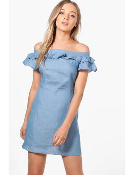 Jessie Off The Shoulder Chambray Swing Dress by Boohoo