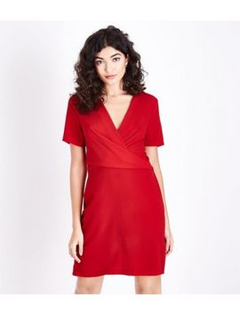 Red Wrap Front Tunic Dress by New Look