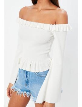 White Frill Bardot Flare Sleeve Knitted Crop by Missguided
