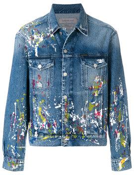 Paint Splatter Denim Jackethome Men Clothing Denim Jackets by Calvin Klein Jeans