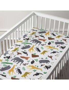 Organic Jungle Animal Crib Fitted Sheet by Crate&Barrel