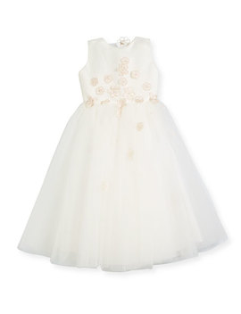 Satin & Tulle Flower Dress, Ivory, Size 4 14 by Joan Calabrese