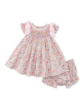 Floral Print Smock Dress W/ Bloomers, Size Newborn 9 M by Luli & Me
