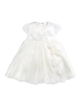 Cap Sleeve Dress W/ Flower Details, Ivory, Size 6 24 Months by Joan Calabrese