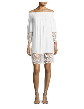 Plage Et Ville Off The Shoulder Lace Trim Dress, White by Lise Charmel