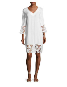 Plage Et Ville Lace Trim Tunic Dress, White by Lise Charmel