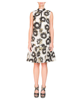 Nena Sleeveless Daisy Print Mock Neck Trapeze Dress by Erdem