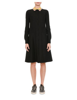 Crepe Couture Floral Collar Shirtdress, Black by Valentino