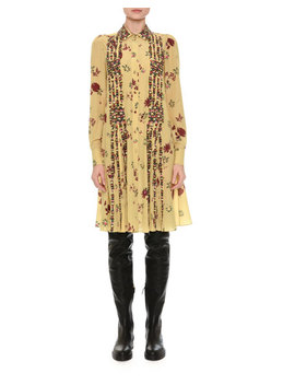 Beaded Floral Print Shirtdress, Yellow by Valentino