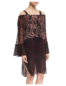 Floral Print Off The Shoulder Coverup Dress, Black by Fuzzi
