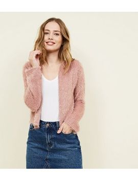 Pale Pink Fluffy Cropped Cardigan by New Look