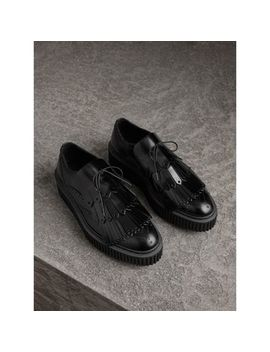 Lace Up Kiltie Fringe Leather Shoes by Burberry