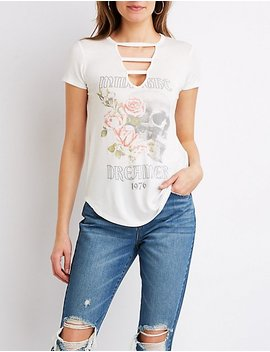 Caged Floral Graphic Tee by Charlotte Russe