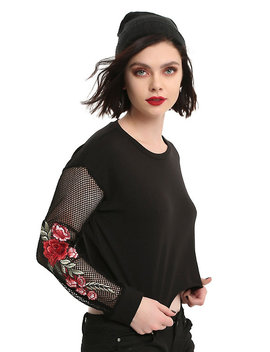 Black Fishnet Sleeve Embroidered Rose Applique Girls Crop Sweatshirt by Hot Topic