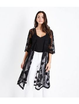 Black Mesh Contrast Embroidered Longline Kimono by New Look