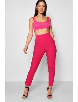 Petite Bella High Waisted Woven Tapered Trouser by Boohoo